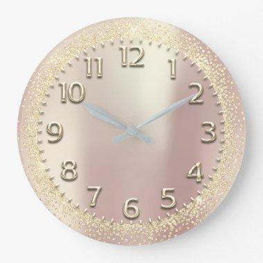 Faux Gold Crystals Glitter Arabic Numbers Rose Large Clock