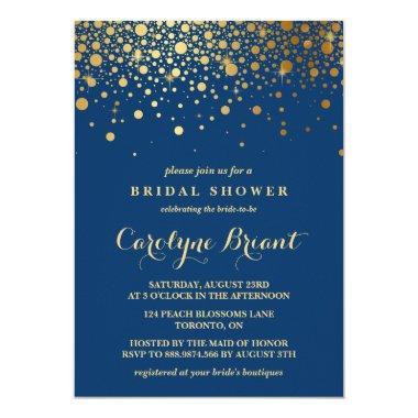 Faux Gold Foil Confetti | Navy Bridal Shower Invitations