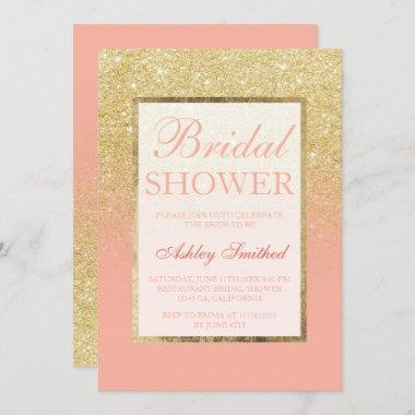 Faux gold glitter blush coral chic Bridal shower Invitations
