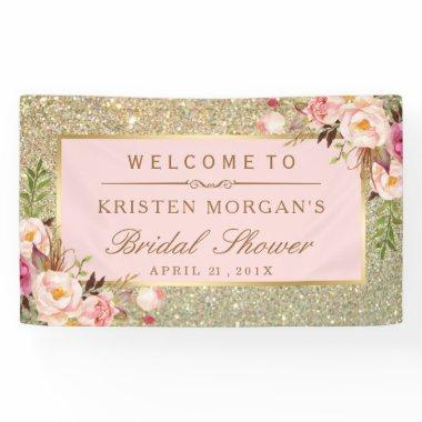 Faux Gold Glitter Blush Pink Floral Bridal Shower Banner