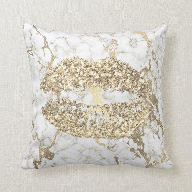 Faux Gold Glitter Kiss Lips Makeup White Marble Throw Pillow