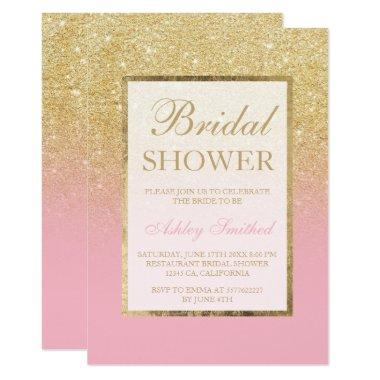 Faux gold glitter ombre pink elegant