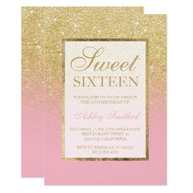 Faux gold glitter ombre pink elegant Sweet sixteen