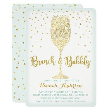 Faux Gold & Mint Brunch & Bubbly Bridal Shower Invitations