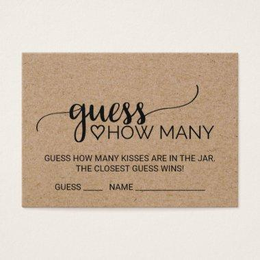 Faux Kraft Calligraphy Guess How Many Kisses Invitations