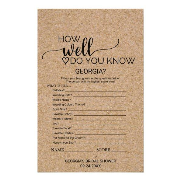 050 faux kraft how well do you know the bride game flyer