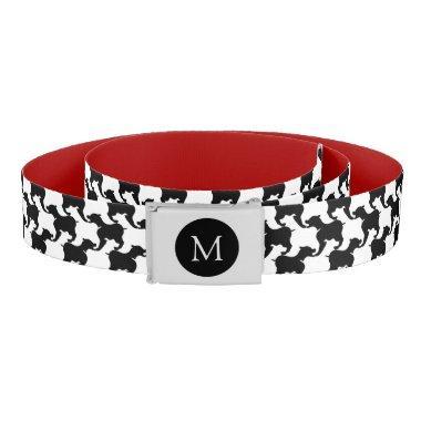 Faux pied-de-poule Dogs PersonalIzed Monogram Belt