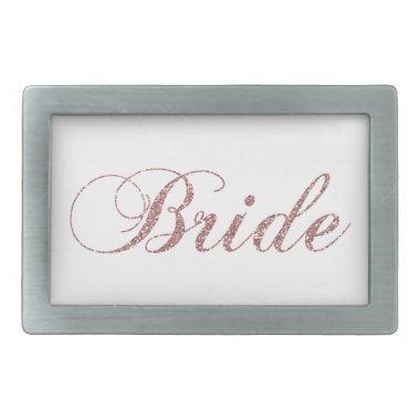 Faux Pink Sparkles Bride Rectangular Belt Buckle