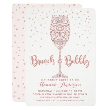 Faux Rose Gold Brunch & Bubbly Bridal Shower Invitations
