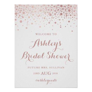 Faux Rose Gold Foil Confetti Bridal Shower Sign