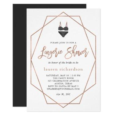Faux Rose Gold Geometric | Lingerie Shower Invitations