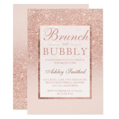 Faux rose gold glitter brunch bubbly bridal shower Invitations