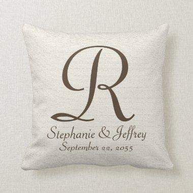 Faux Rustic Burlap Monogram and Names Pillow