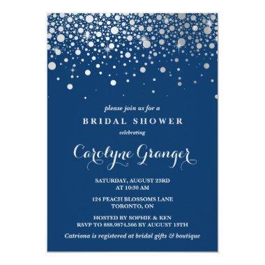 Faux Silver Foil Confetti | Navy Bridal Shower Invitations