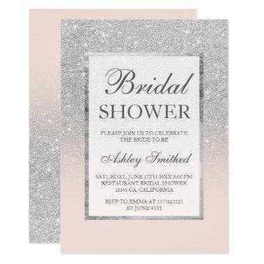 Faux silver glitter blush elegant
