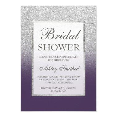 Faux silver glitter purple elegant Bridal shower Invitations