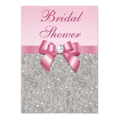 Faux Silver Jewels Pink Bow Diamonds Bridal Shower Invitations