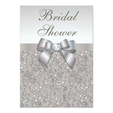 Faux Silver Sequins and Bow Bridal Shower Invitations