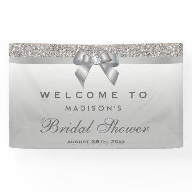 Faux Silver Sequins Bow Diamond  Banner