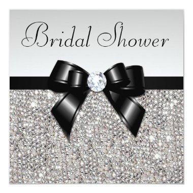 Faux Silver Sequins Chic Black Bow