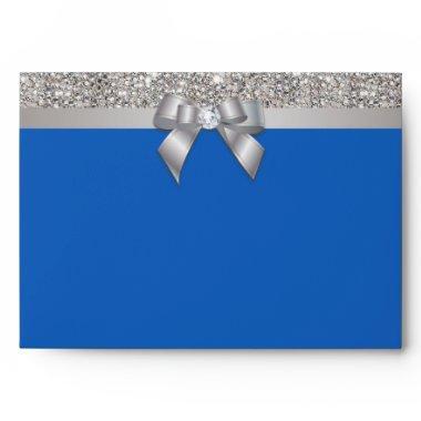 Faux Silver Sequins Diamonds Bow Denim Blue Envelope