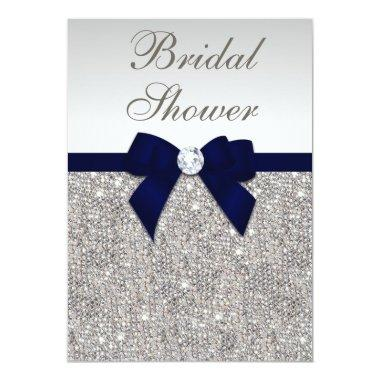 Faux Silver Sequins Navy Bow Bridal Shower Invitations