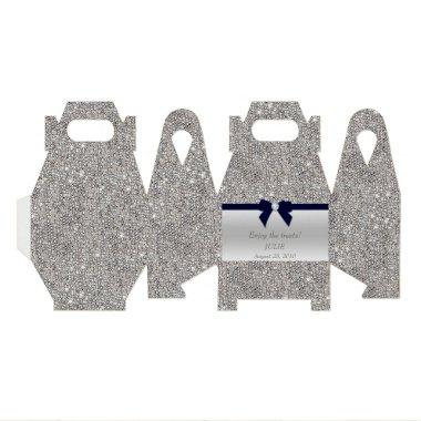 Faux Silver Sequins Navy Bow Favor Box