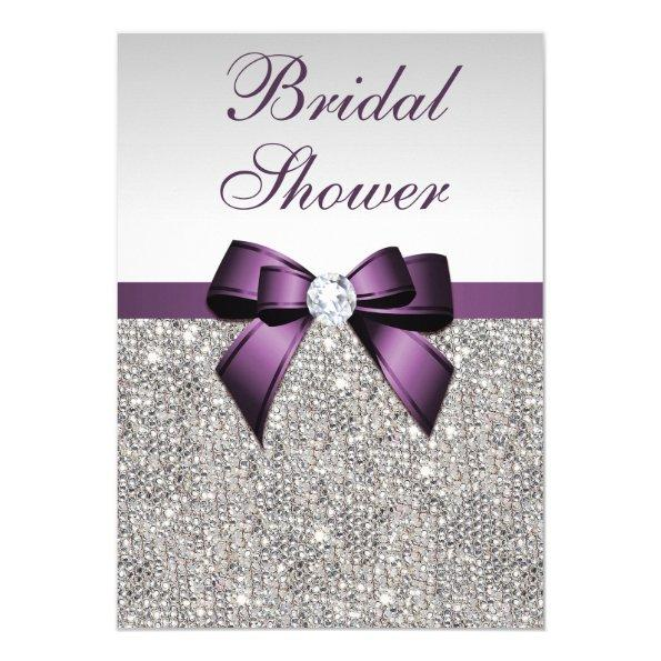 Faux Silver Sequins Purple Bow Bridal Shower Invitations