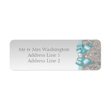 Faux Silver Sequins Teal Blue Bow and Diamond Label