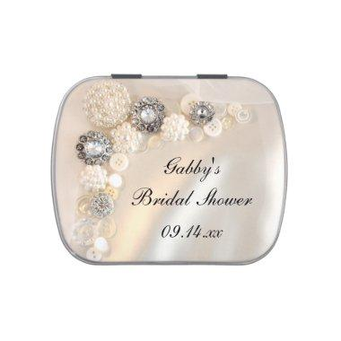 Faux White Pearl Diamond Buttons Bridal Shower Jelly Belly Candy Tin
