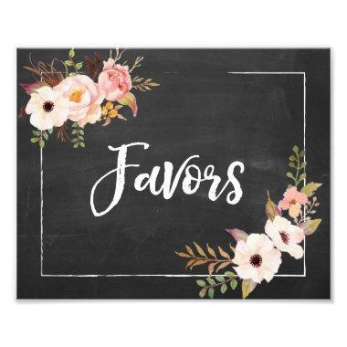 Favors Rustic Chalkboard Floral Wedding Sign Photo Print