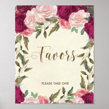 Favors sign wedding  floral
