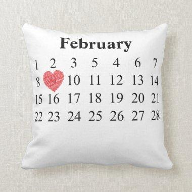February Calendar - Move Heart over YOUR Day Throw Pillow