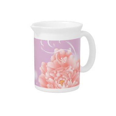 Feminine girly chic watercolor floral pink peony beverage pitcher