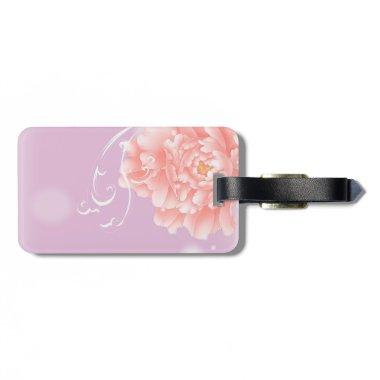 Feminine girly chic watercolor floral pink peony luggage tag
