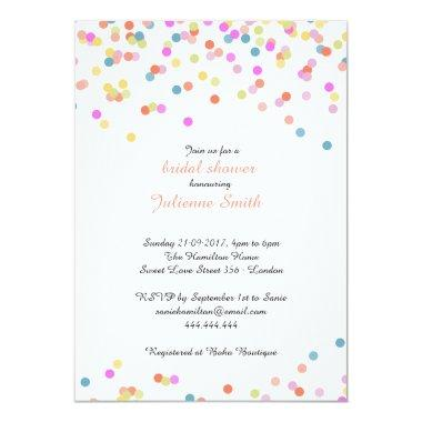 Festive Colorful Confetti Bridal Shower Invitations