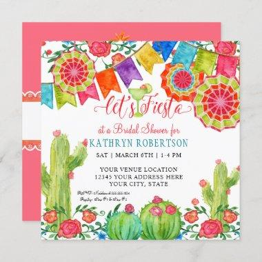 Fiesta Margarita Cactus Bridal Shower Girl Pennant Invitations