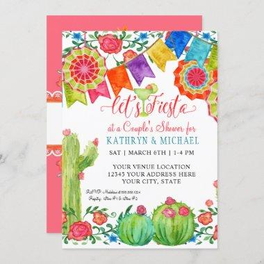 Fiesta Margarita Floral Cactus Art Couples Shower Invitations