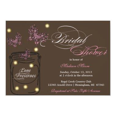 Fireflies and Mason Jar Bridal Shower - Brown Invitations