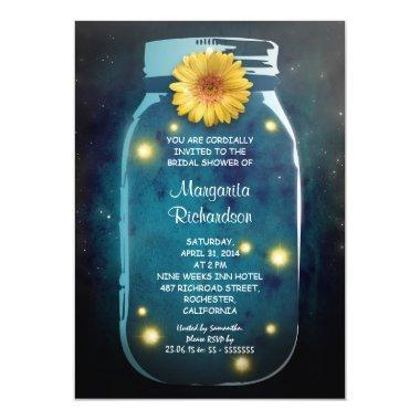 Fireflies & Mason Jar Whimsical Bridal Shower Invitations