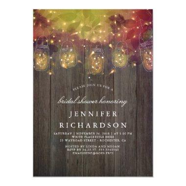 Firefly Lights and Mason Jars Rustic Bridal Shower Invitations