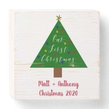 First Christmas Wedding Gift for Newlyweds Wooden Box Sign