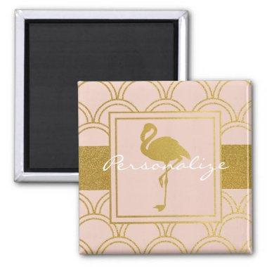 Flamingo Pink and Faux Gold Pattern Elegant Modern Magnet