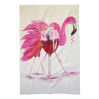 Flamingos In Wine Kitchen Towel