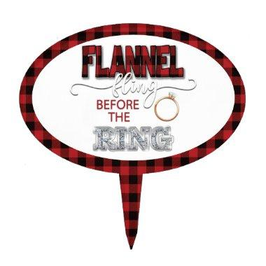Flannel Fling Before the Ring Cake Topper - Red