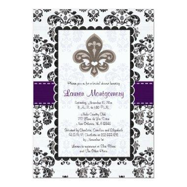 Fleur de Lis Bridal Shower Invitations Plum Black