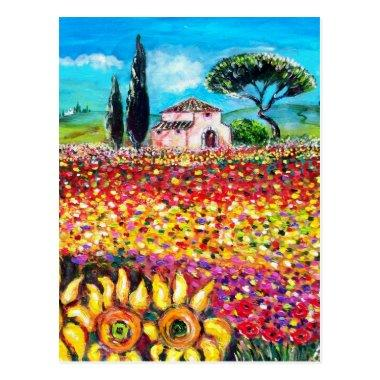 FLORA IN TUSCANY/ Fields ,Poppies and Sunflowers PostInvitations