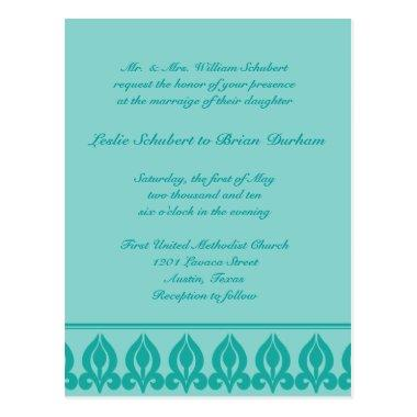 Flora Wedding Invitation-Teal/Teal Post