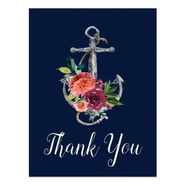 Floral Anchor | Navy Autumn Thank You PostInvitations