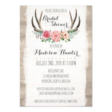 Floral Antlers Rustic Wedding Bridal Shower Custom Invitations